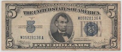 1934 C $5 Five Dollars Usa Silver Certificate Blue Seal Note Circulated 136A