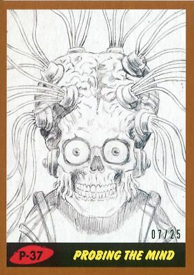 Mars Attacks The Revenge Bronze [25] Pencil Art Base Card P-37 Probing the Mind