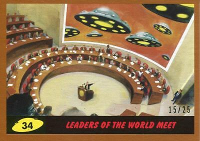 Mars Attacks The Revenge Bronze [25] Base Card #34 Leaders of the World Meet