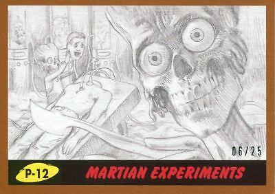Mars Attacks The Revenge Bronze [25] Pencil Art Base Card P-12 Martian Experime