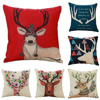 Xmas Throw Pillow Case Christmas Holy Deer Pattern Housewife Waist Cushion Cover