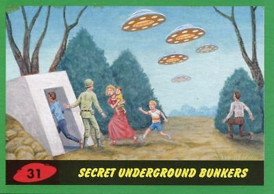 Mars Attacks The Revenge Green Base Card #31 Secret Underground Bunkers