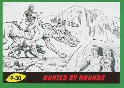 Mars Attacks The Revenge Green Pencil Art Base Card P-30 Hunted by Hounds