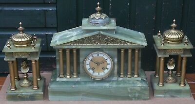 Fab Green Marble Or Onyx Cased Garniture Clock Set With Busts In Garnitures