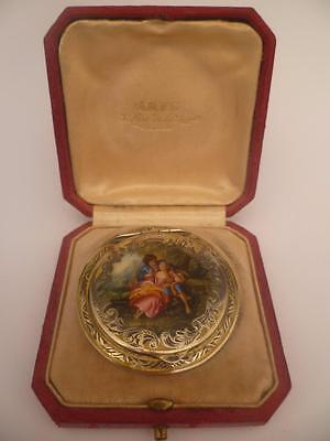 """French Silver Solid Yellow Double Sided Enamel Compact """"the Lovers""""  Hallmarked"""