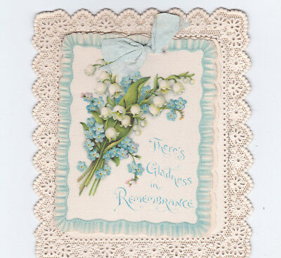 Victorian Greetings Card, Silk Front, Flower Bouquet, C. 1890's