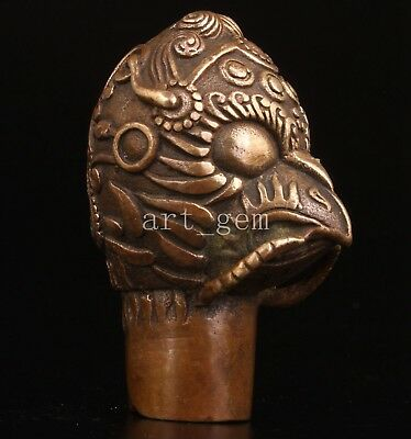 Bronze Magic Strength Statue Cane Walking Stick Head Particular Distinct