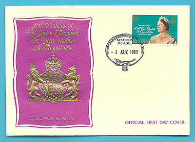 80th BIRTHDAY OF THE QUEEN MOTHER.SOLOMON ISLANDS FIRST DAY COVER 1980