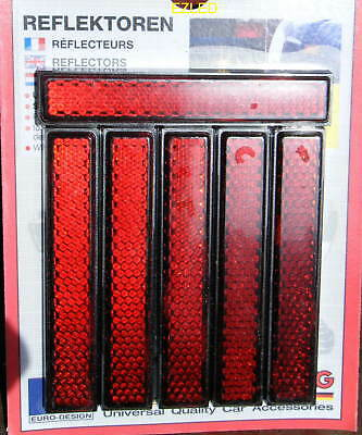6pc Diamond Cut Red Mini Reflectors Self Adhesive NEW