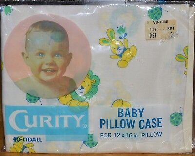Vintage New CURITY Baby Pillow Case Animals Ladybugs Rare Kendall Co Made USA