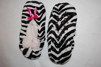 Womens FUZZY BABBA SLIPPERS Booties BLACK WHITE ZEBRA PRINT Sherpa Lined S-M