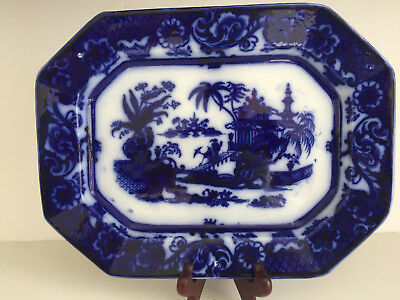 """Antique Flow Blue Ironstone China CHEN SI Platter John Meir 13.5"""" Early 1800s"""