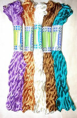 SILK EMBROIDERY THREAD 5 SKEINS 400 mts Hot Fast Washable Art S9 Spools #FHFQC