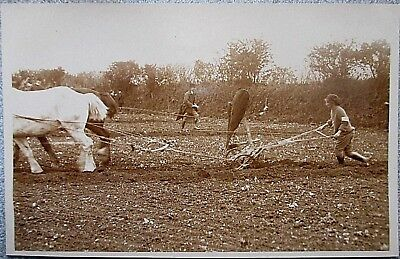 Cornwall RP. WW1 Women's Land Army Girls Learning to Horse Plough. Truro.