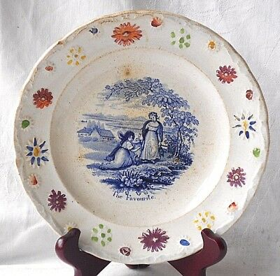 "Early C19Th Staffordshire Relief Moulded Childs Pearlware Plate ""the Favourite """