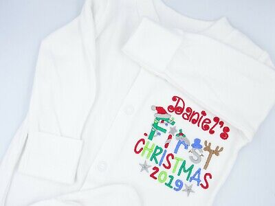 Personalised Embroidered FIRST 1ST CHRISTMAS words BABY BIB GROW VEST TSHIRT