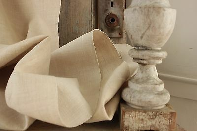 Antique linen fabric finely woven homespun 5 yards pale homespun LOVELY