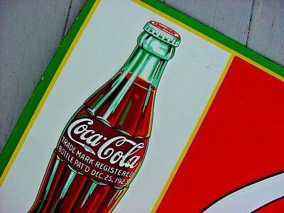 1933 Vintage COCA COLA Old Original Tin Sign featuring the 1923 COKE BOTTLE