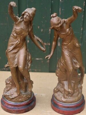 Pair Of Old Scruffy & Painted Metal Figures On Wooden Bases To Restore
