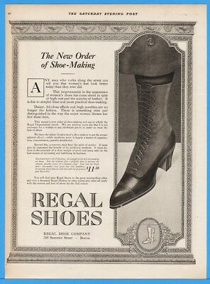 1918 Regal Shoes Boston MA Womens High Top Lace Up Boots Pollyanna Art Ad