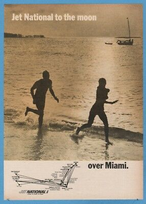 1965 Jet National Airlines To the Moon Over Miami Route Map Couple Running Ad