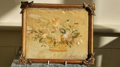 Delightful Antique Silk Embroidered Picture of Basket of Flowers C 1860