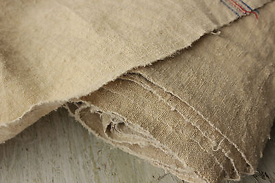 Antique homespun linen WASHED fabric old cloth material 6.6yds Crinkly hemp