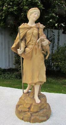 Large Art Nouveau Austrian Ernst Wahliss Porcelain Figure - Shepherdess