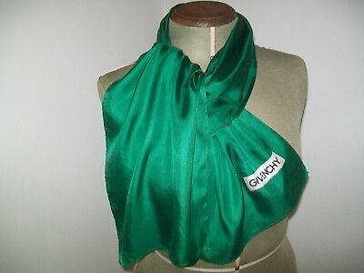 Givenchy. Plain Simple & Chic Emerald Green Vintage Silk Scarf
