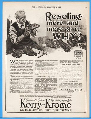 1918 Korry Krome Genuine Leather Shoe Soles Howard Co Corry PA Print Ad