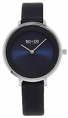 NEW SO & CO New York 5204L.2 Womens Madison Slim Blue Dial Navy Blue Strap Watch