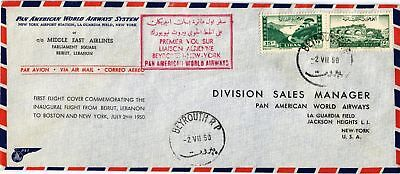 Dr Jim Stamps Lebanon Airmail First Flight Beirut New York Legal Size Cover 1950