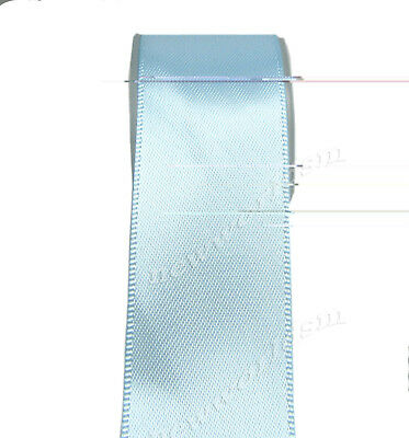 "4y 57mm 2 1/4"" Lt Blue Double Sided Faced Wide Heavy Satin Ribbon Eco FREE PP"