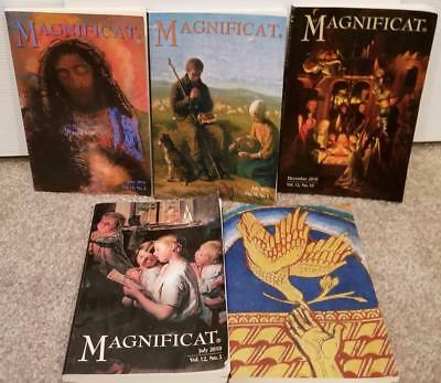 5 Magnificat Catholic Magazine Lot Great Art Covers and Lots of Information