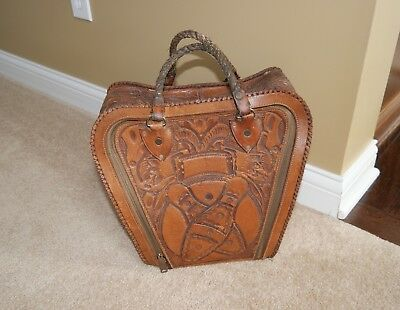 """VINTAGE leather """"HAND TOOLED"""" bowling pin ball BAG w/original roped handle"""