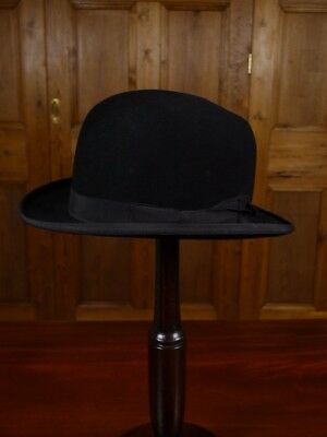 Genuine 1940s 1950s Vintage Black Bowler Hat Extra Small