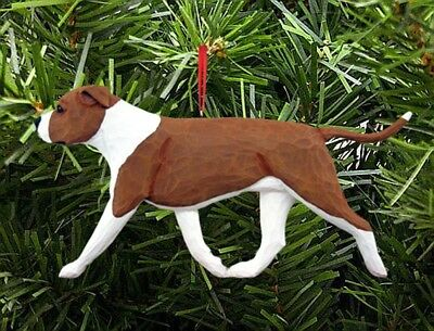 American Staffordshire Terrier Ornament Red/White