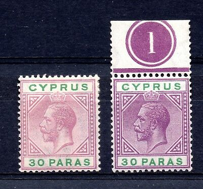 Cyprus (1924)  King George V 1921  30 Paras Violet and Green 2 shades  Sg87