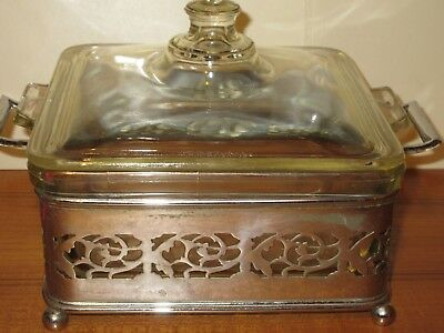 Vintage Pyrex Square Casserole Serving Lidded Dish in Silver Plate Holder Stand