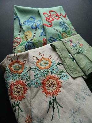 Three vintage UNUSED table linen items with hand embroidery designs to complete