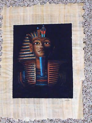 Vtg Egyptian Revival Art Painting King Tut In Shadow Hand Painted Papyrus signed