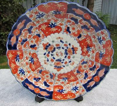 "ANTIQUE JAPANESE 12"" ANTIQUE 19thC MEIJI IMARI CHARGER - FINE MOULDING FOLIATE"