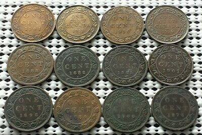 Lot of 12 Large Cent Coins ❀ 1800's 1900's❀ Canada Penny Collection Group 5 of 5