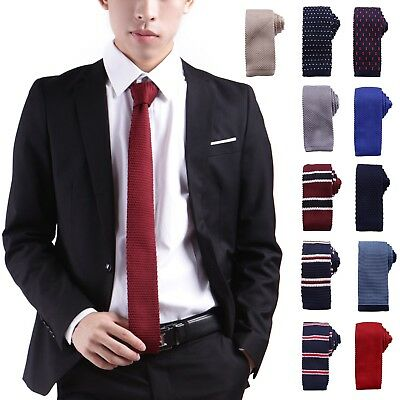 Mens Waffle Pattern Knit Tie Smart Casual Vintage Square End Woven