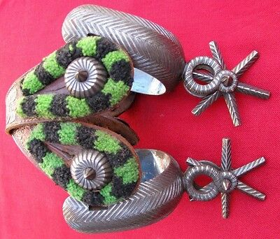 Mint Hand Forged Dbl. Chevron Silver Inlaid Sombrero Concho Spurs & Fancy Straps