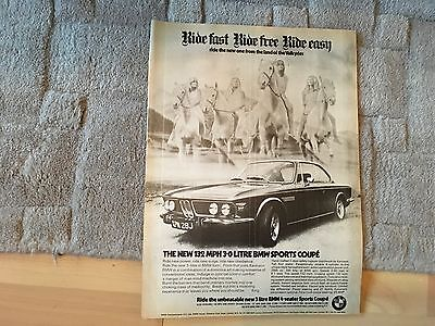 Bmw 3 Litre Coupe    Magazine Advert1971.      Removed Pages  See Photo