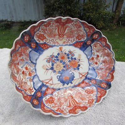 "LARGE ANTIQUE JAPANESE 12"" ANTIQUE 19thC MEIJI IMARI DISH -  FOLIATE RIM"