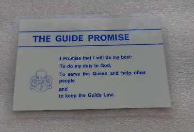 Uk Girl Guides: Pre 1994 Laminated Guide Promise & Ten Guide Laws Card