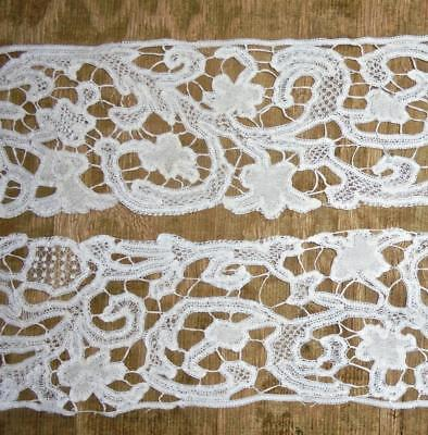 1.32m BEAUTIFUL ANTIQUE 19th CENTURY LINEN TAPE LACE, VARIED FILLING STITCHES