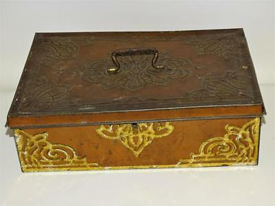 Antique Fancy Embossed Tin Document, Letter, Money Box, German Cookie Box